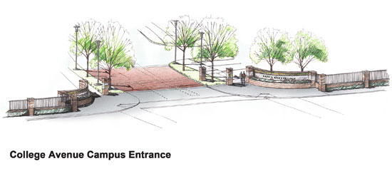Artist rendering of SAC's College Avenue Campus Entrance