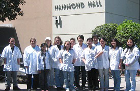 pharmacy students in front of Hammond Hall