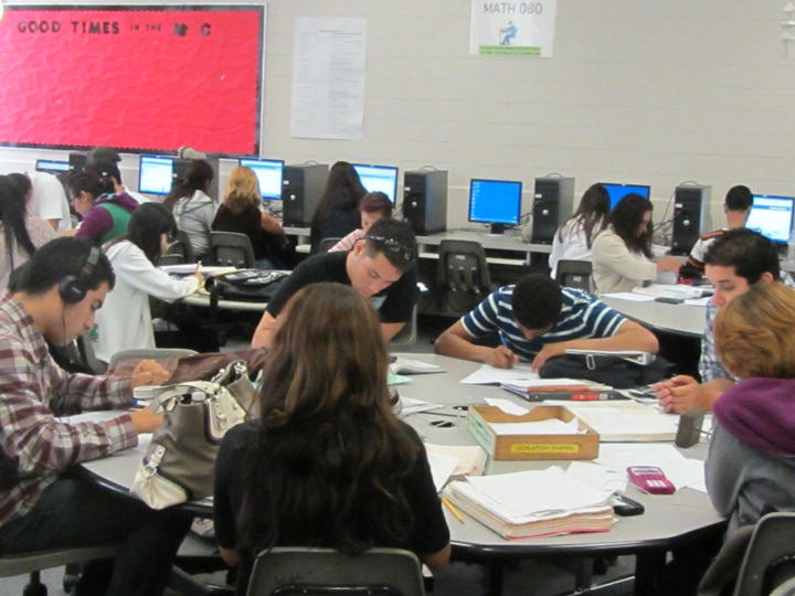 Students study at the math center
