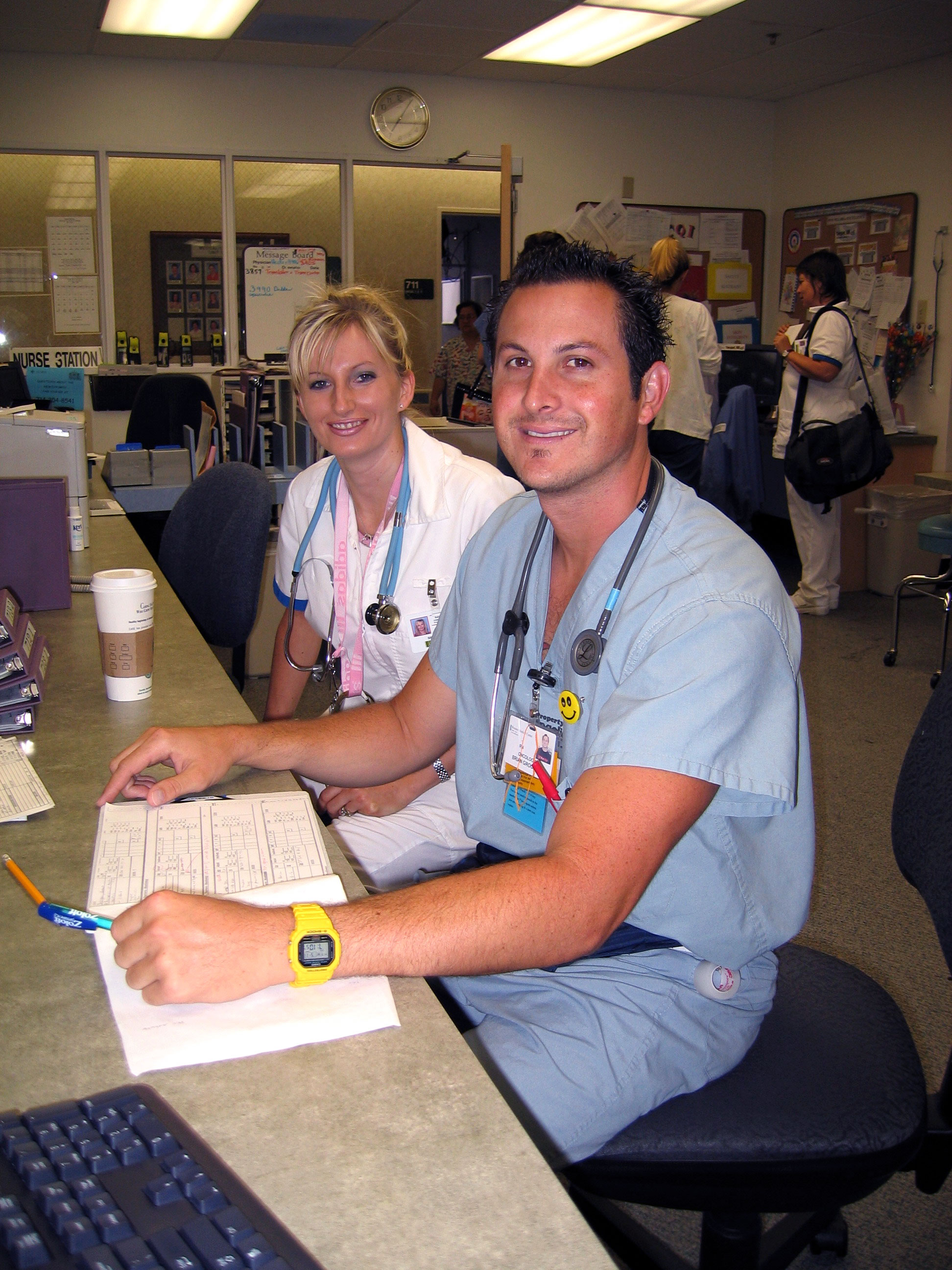 Male and Female nursing students in uniform at Skills lab