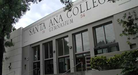 outside the Santa Ana college Bill Cook gymnasium