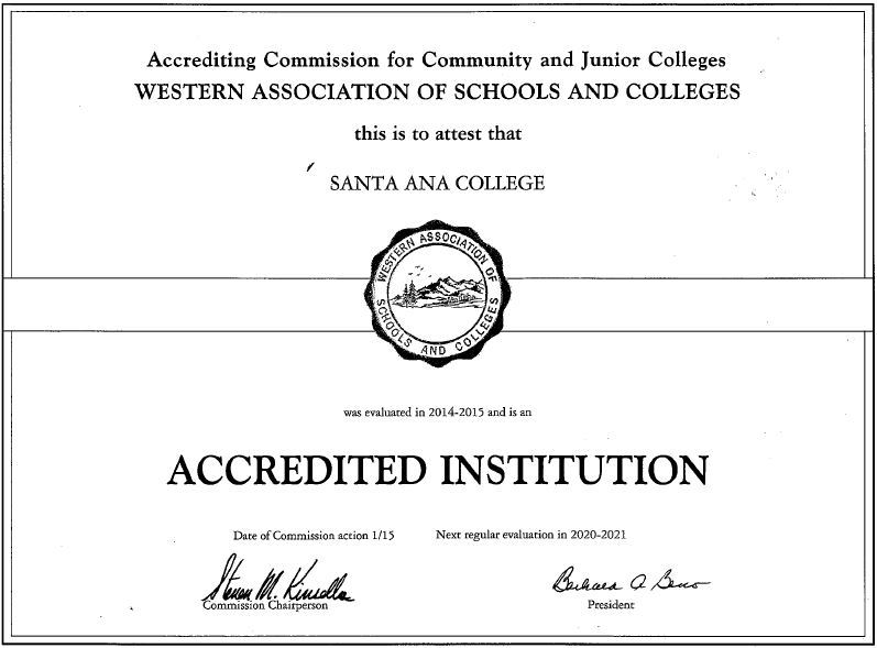 Accredited Institution Certificate