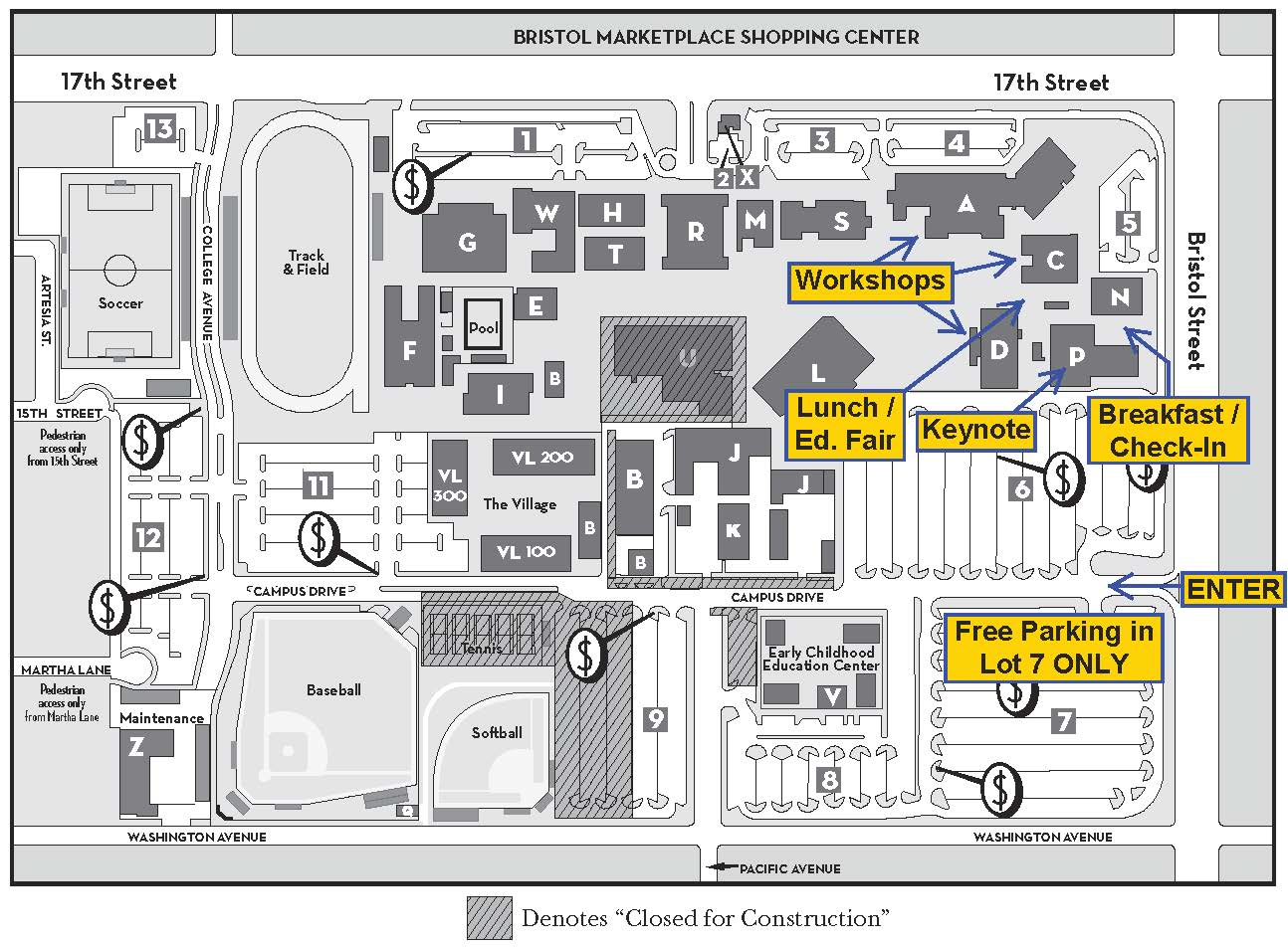 Santa Ana College Campus Map Campus Directions