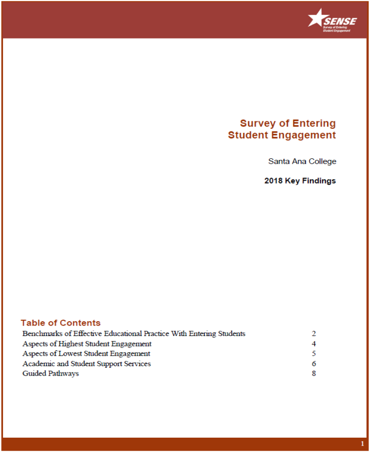 Link to the Table of Contents for SENSE